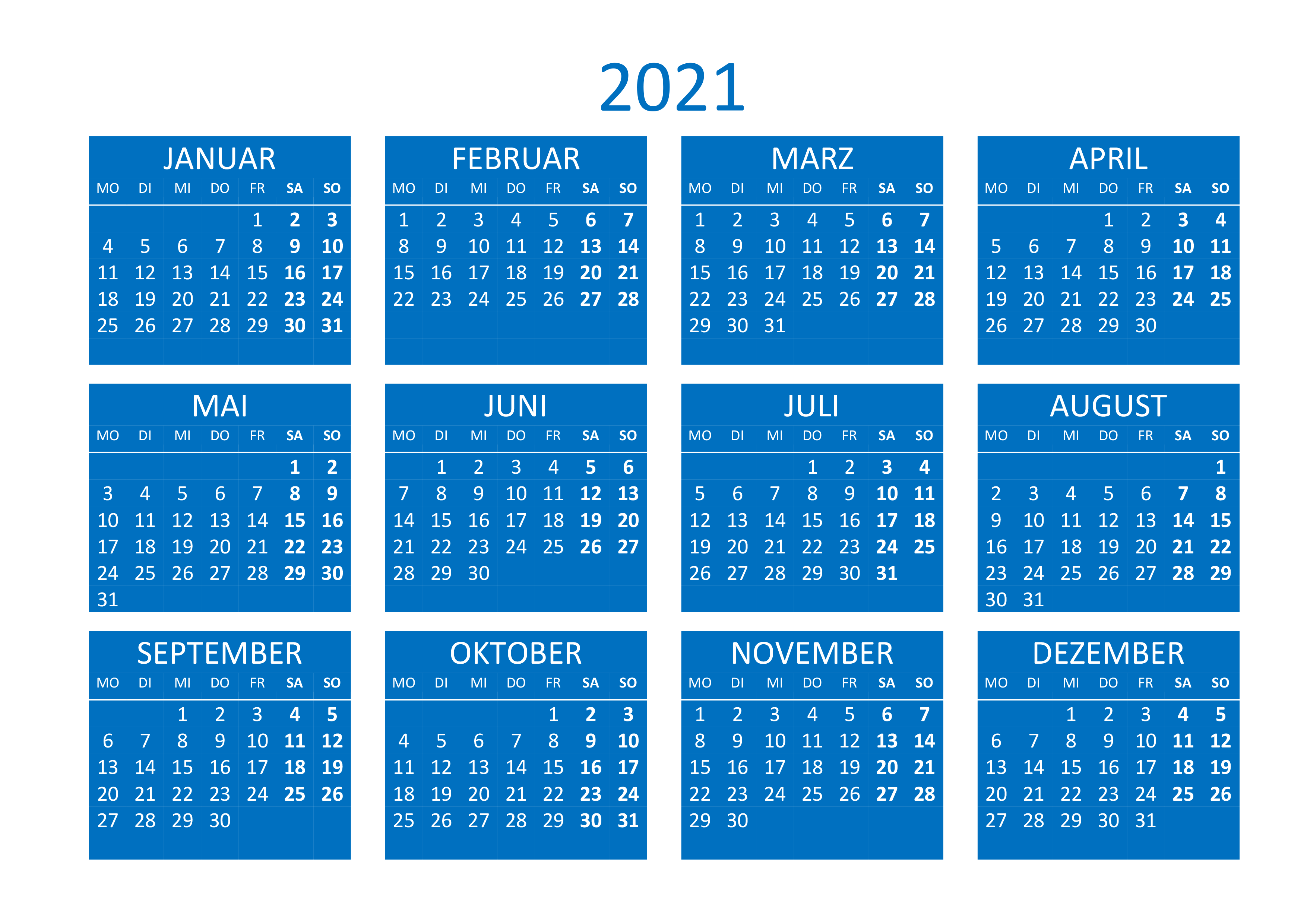 Jahreskalender 2021 horizontal - kalender.su