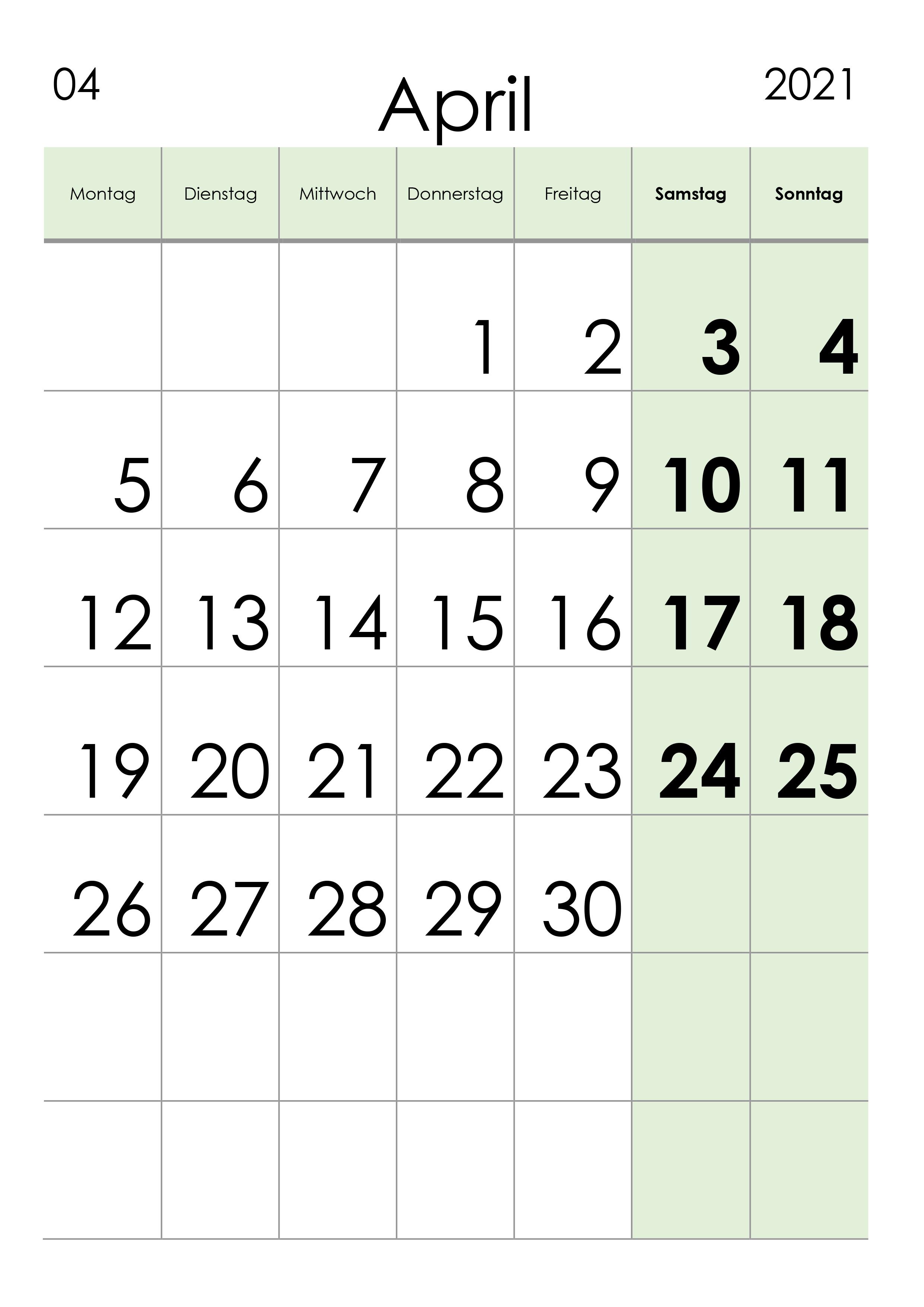 Kalender April 2021 grosse Ziffern im Hochformat - kalender.su