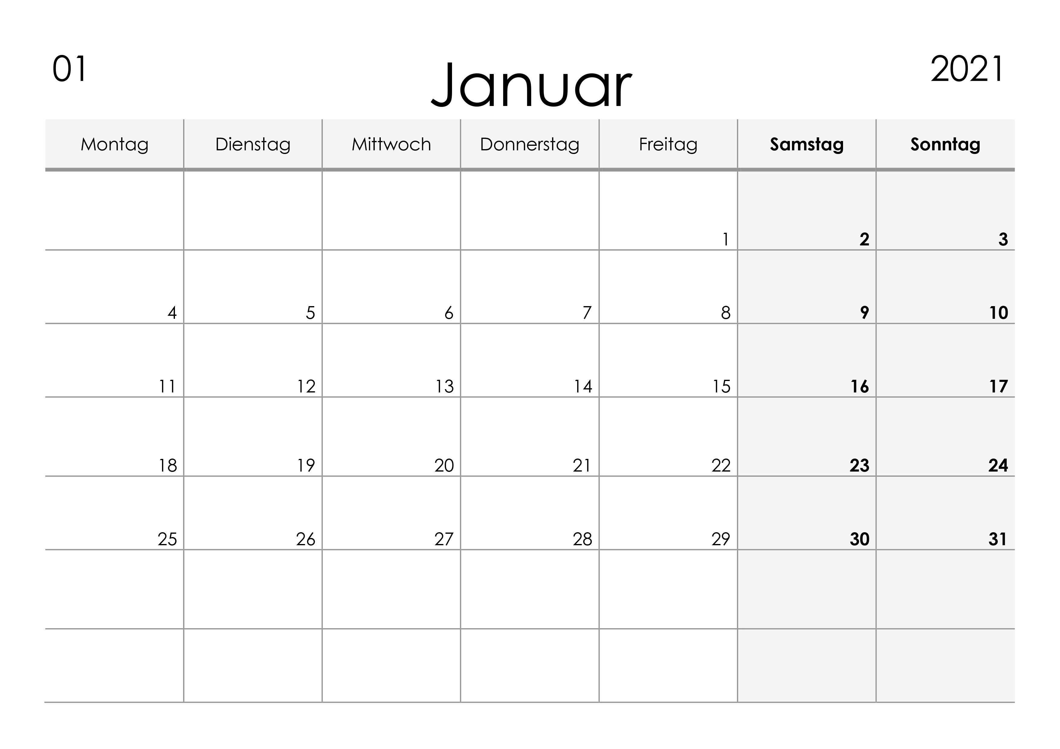 Kalender Januar 2021 kleine Ziffern im Querformat ...